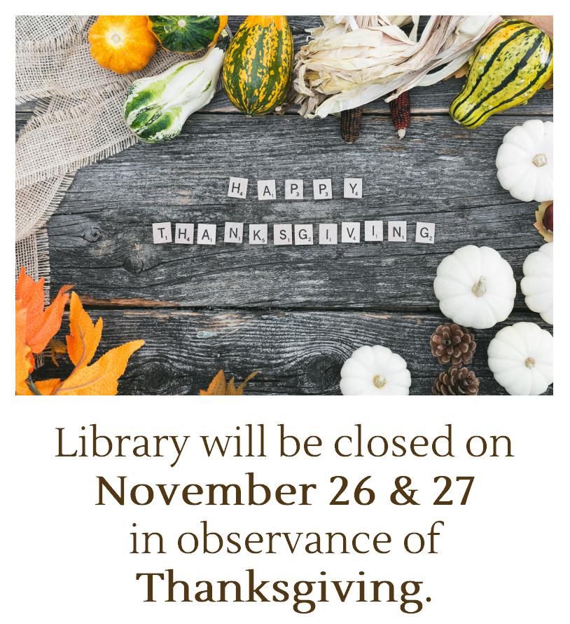 Closed: Thanksgiving